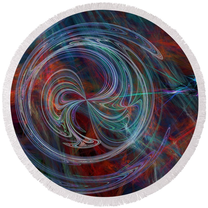Abstract Round Beach Towel featuring the digital art The Spark Of Life by Rod Johnson