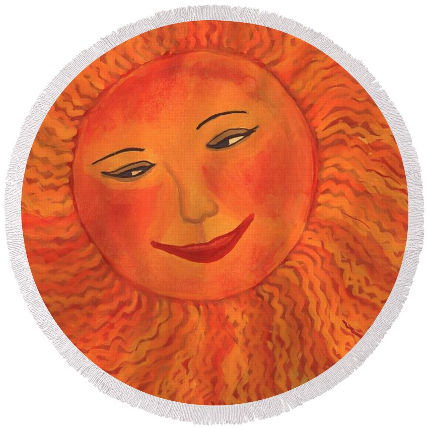 Sun Round Beach Towel featuring the painting The Sun God Detail Of Red Sky At Night by Sushila Burgess