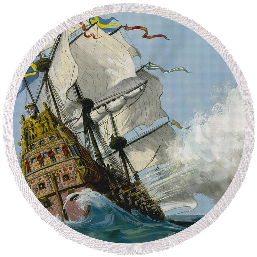 Boat; Ship; Sea; Sail; Smoke; Wave; Rigging; Galleon; Capsize; Sink; C17th Round Beach Towel featuring the painting The Swedish Warship Vasa by Ralph Bruce