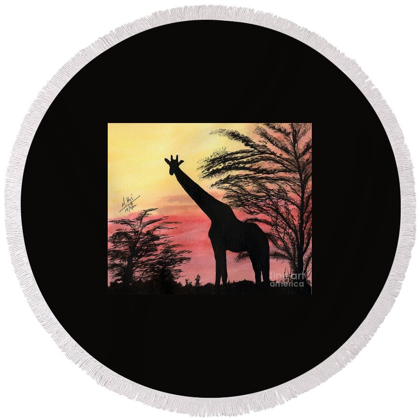 Round Beach Towel featuring the painting The Tall One by Mohamed Hirji