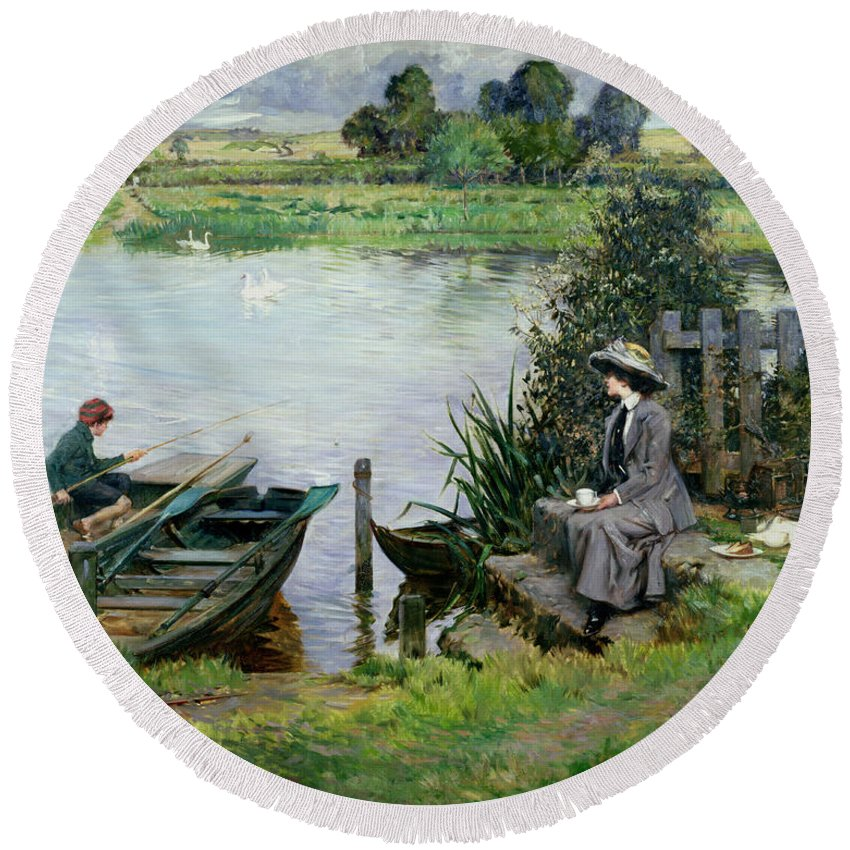 The Round Beach Towel featuring the painting The Thames At Benson by Albert Chevallier Tayler