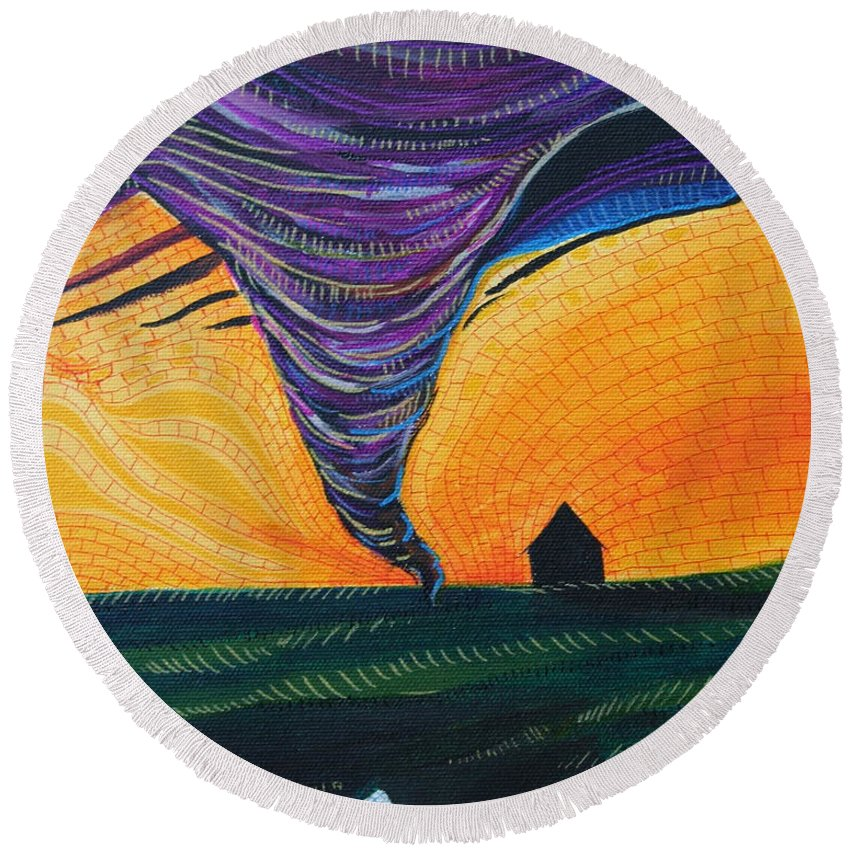 Wizard Of Oz Round Beach Towel featuring the painting The Tornado by Kate Fortin