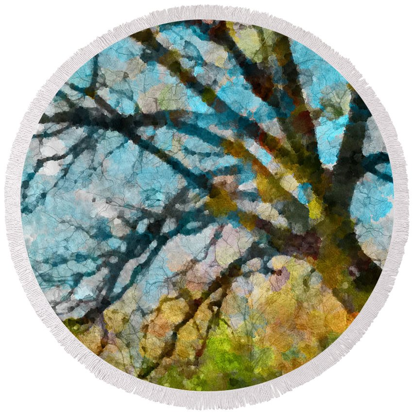Multicolour Round Beach Towel featuring the photograph The Tree Of Many Colours by Steve Taylor