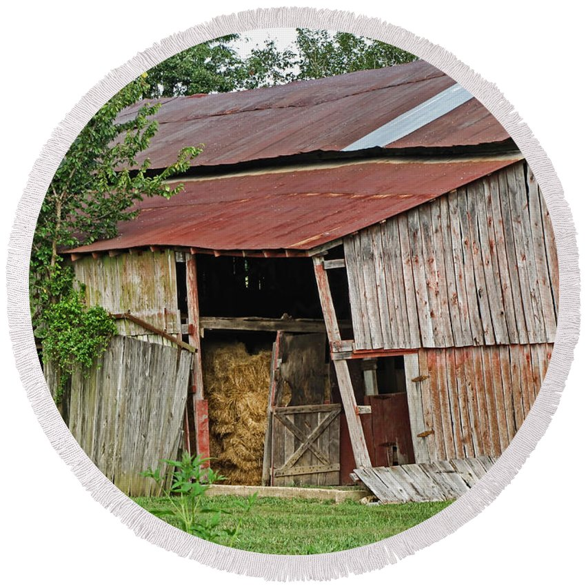 Buildings Round Beach Towel featuring the photograph Leaning Barn by Debbie Portwood