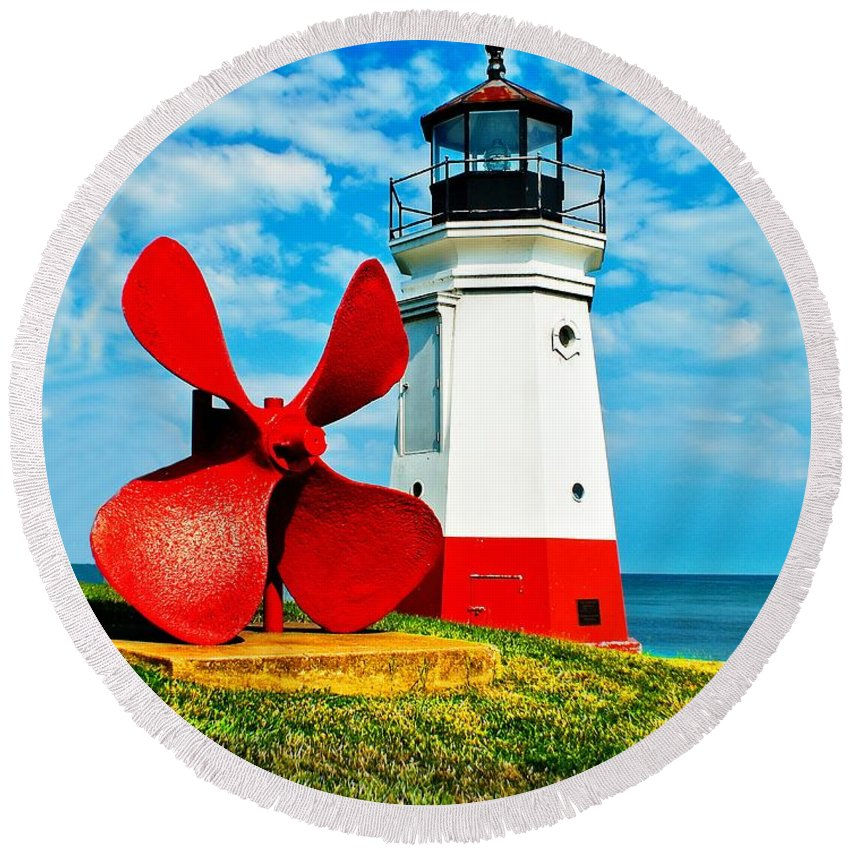Anchor Round Beach Towel featuring the photograph The Vermillion Light by Nick Zelinsky