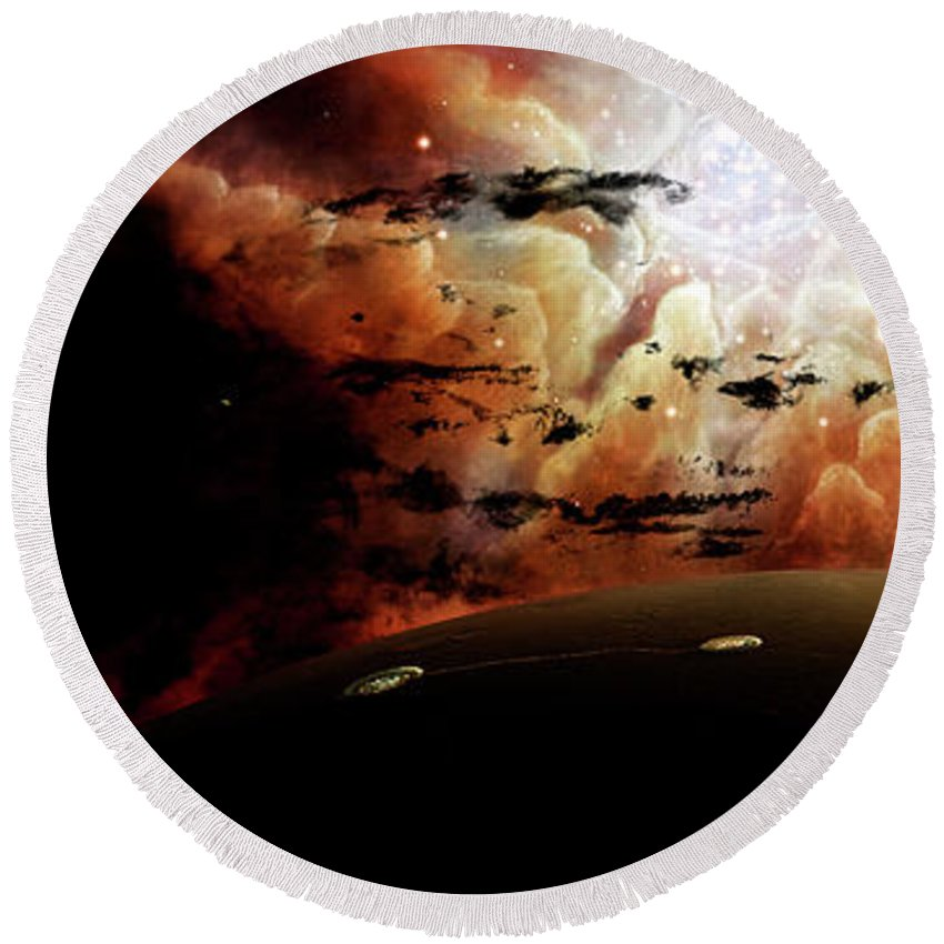 Artwork Round Beach Towel featuring the digital art The View From A Busy Planetary System by Brian Christensen