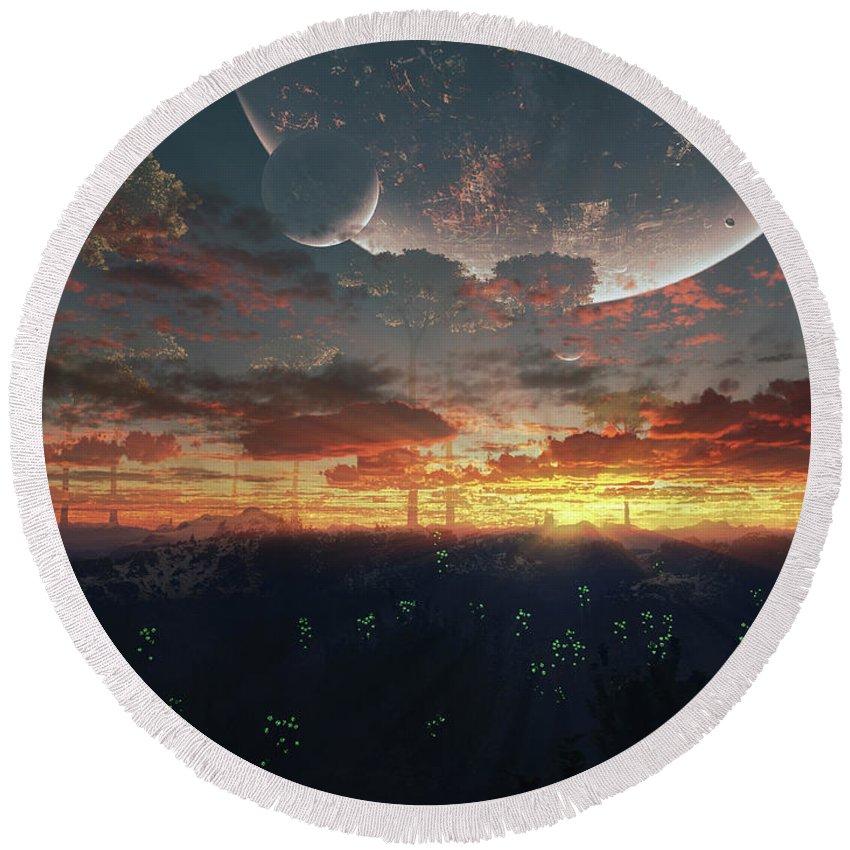 Artwork Round Beach Towel featuring the digital art The View From An Alien Moon Towards by Brian Christensen