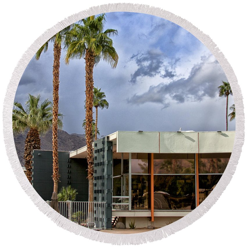 V Round Beach Towel featuring the photograph The View Palm Springs by William Dey