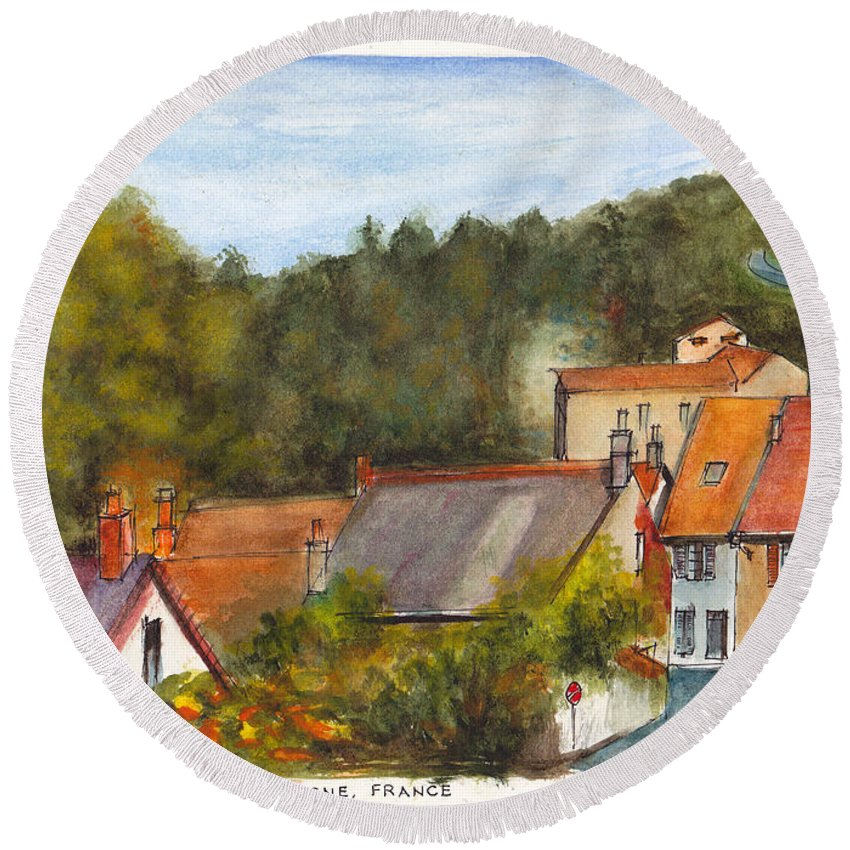 French Village Round Beach Towel featuring the painting The Village Of Billy by Dai Wynn