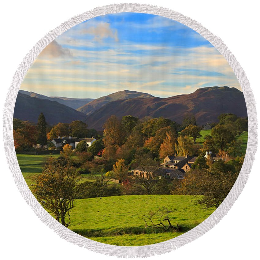 Watermillock Round Beach Towel featuring the photograph The Village Of Watermillock In Cumbria Uk by Louise Heusinkveld