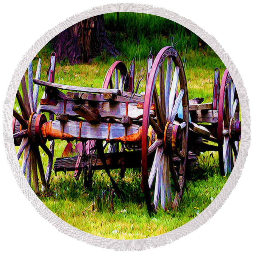 Wagon Round Beach Towel featuring the photograph The Wagon At El Prado by Terry Fiala