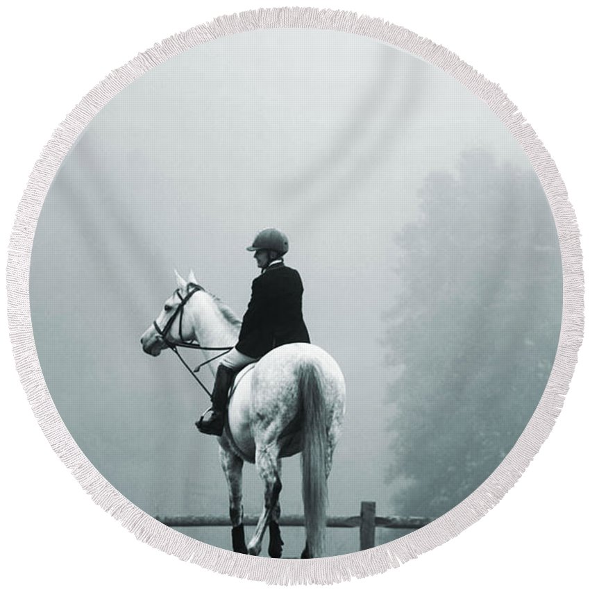 Horse Round Beach Towel featuring the photograph The Watchman by Hannah Breidenbach