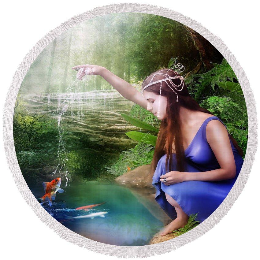 Woman Round Beach Towel featuring the digital art The Water Hole by Karen Koski