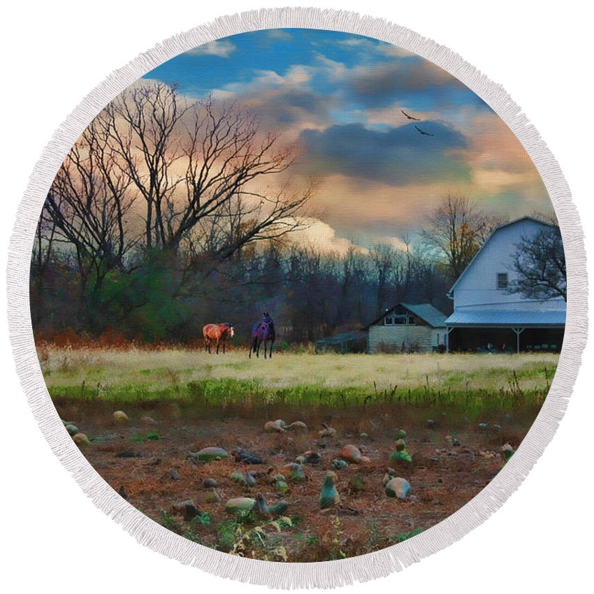 Harvest Round Beach Towel featuring the digital art The Way Home by Tom Schmidt
