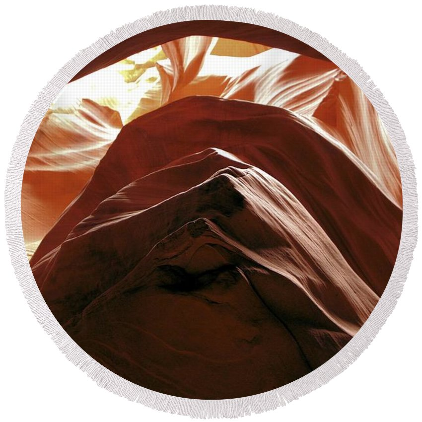 Antelope Canyon Round Beach Towel featuring the photograph The Way Out by Adam Jewell