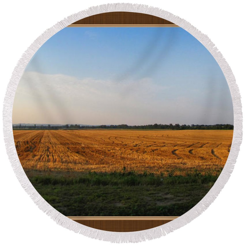 Round Beach Towel featuring the photograph The Wheat Is In by Debbie Portwood