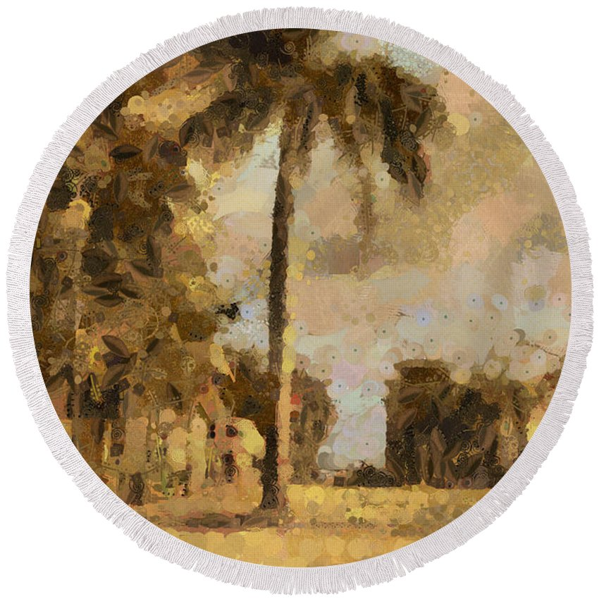 Palm Tree Round Beach Towel featuring the photograph The Wonder Of Fort Pierce by Trish Tritz