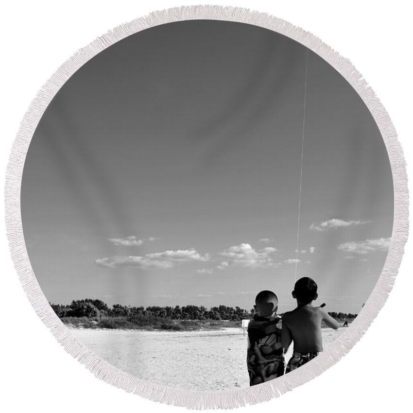 Fine Art Photography Round Beach Towel featuring the photograph The Wright Brothers by David Lee Thompson