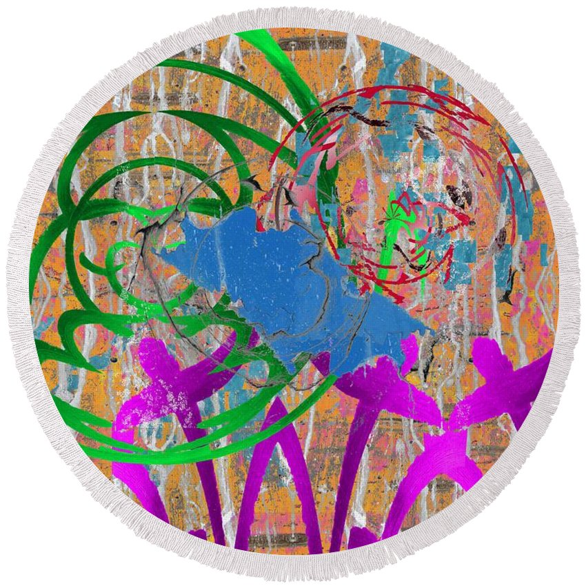 Abstract Round Beach Towel featuring the digital art The Writing On The Wall 22 by Tim Allen