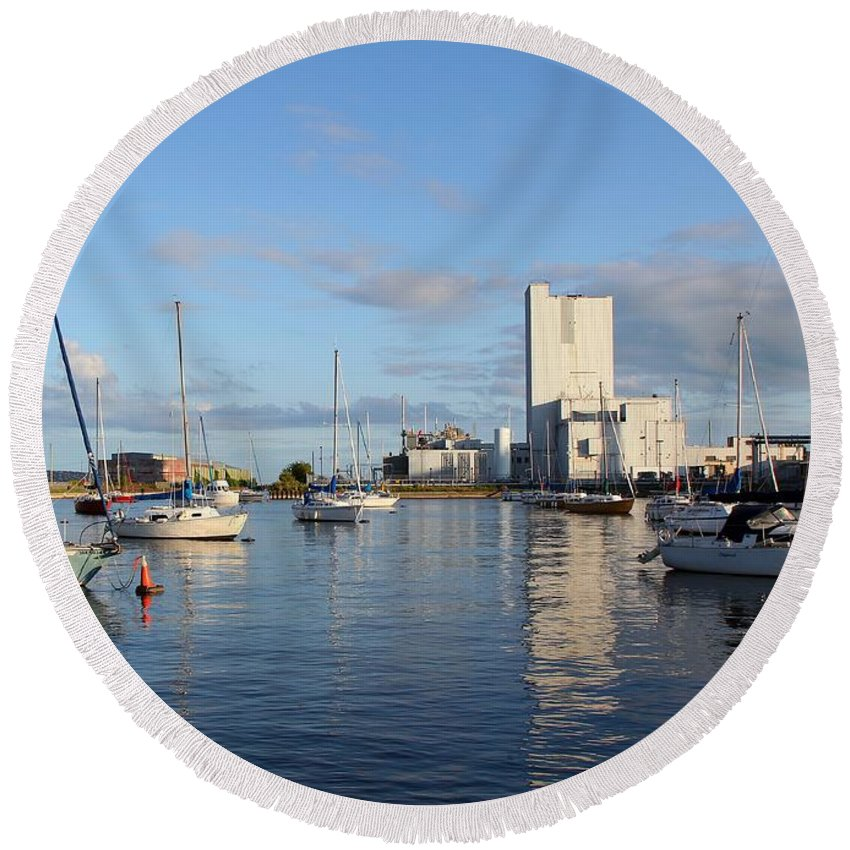 Boat Round Beach Towel featuring the photograph The Yacht Club by Davandra Cribbie