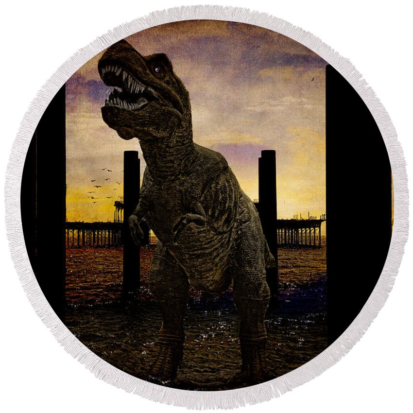 Tyrannosaur Round Beach Towel featuring the photograph There's Probably No Bathing In Brighton Today by Chris Lord