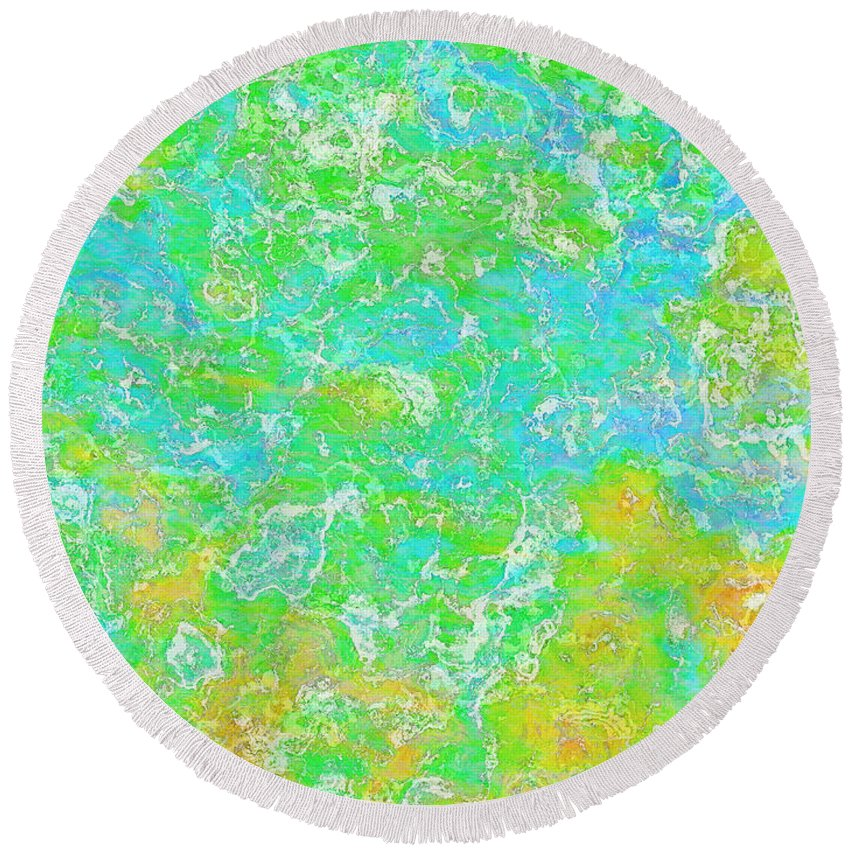 Abstract Round Beach Towel featuring the digital art Thick Paint II by Debbie Portwood