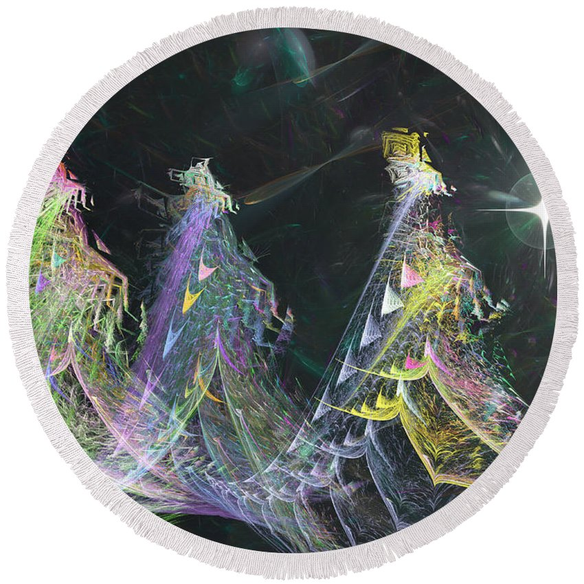 Abstract Round Beach Towel featuring the digital art Three Kings Moon Star by Russell Kightley