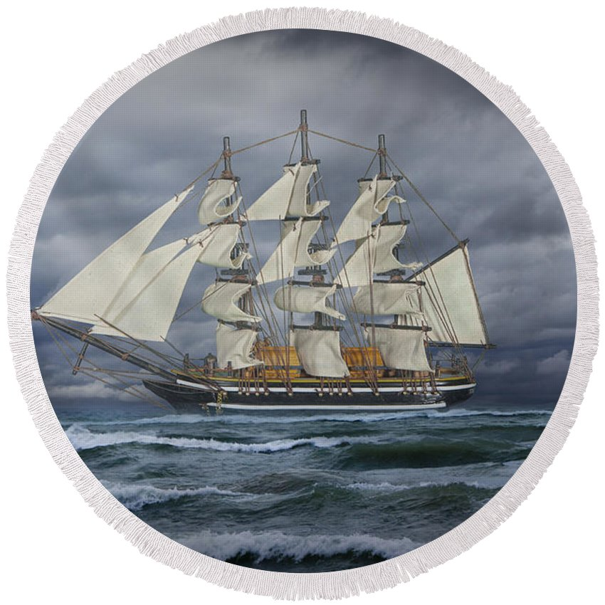 Art Round Beach Towel featuring the photograph Three Masted Ship by Randall Nyhof