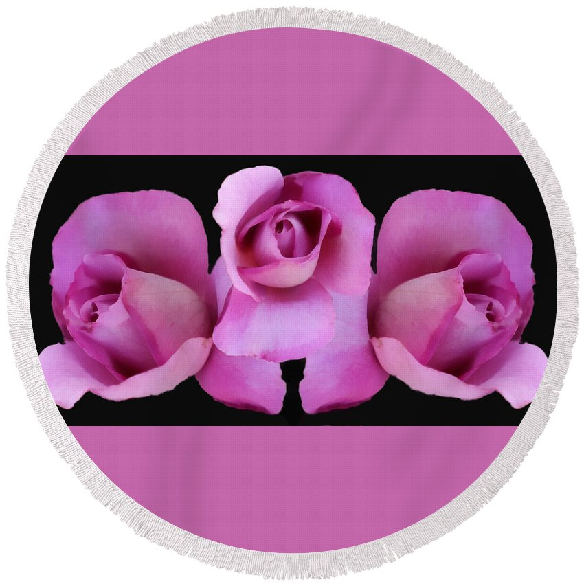 3 Roses Painterly Round Beach Towel featuring the digital art Three Roses Painterly by Ernie Echols