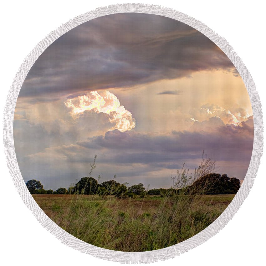 Clouds Round Beach Towel featuring the photograph Thunderclouds by Beth Gates-Sully