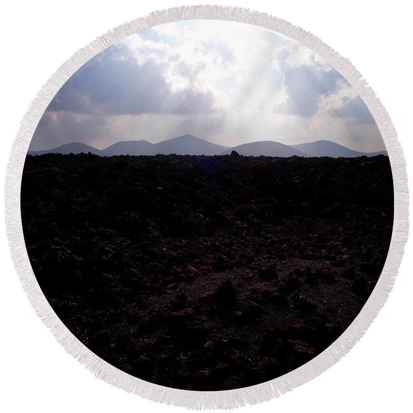 Lehtokukka Round Beach Towel featuring the photograph Timanfaya Ground by Jouko Lehto