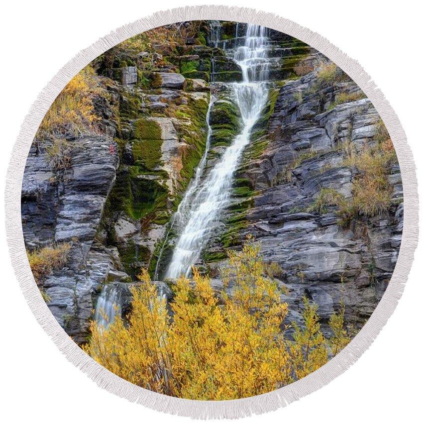 Timpanogos Round Beach Towel featuring the photograph Timpanogos Waterfall In The Fall - Utah by Gary Whitton