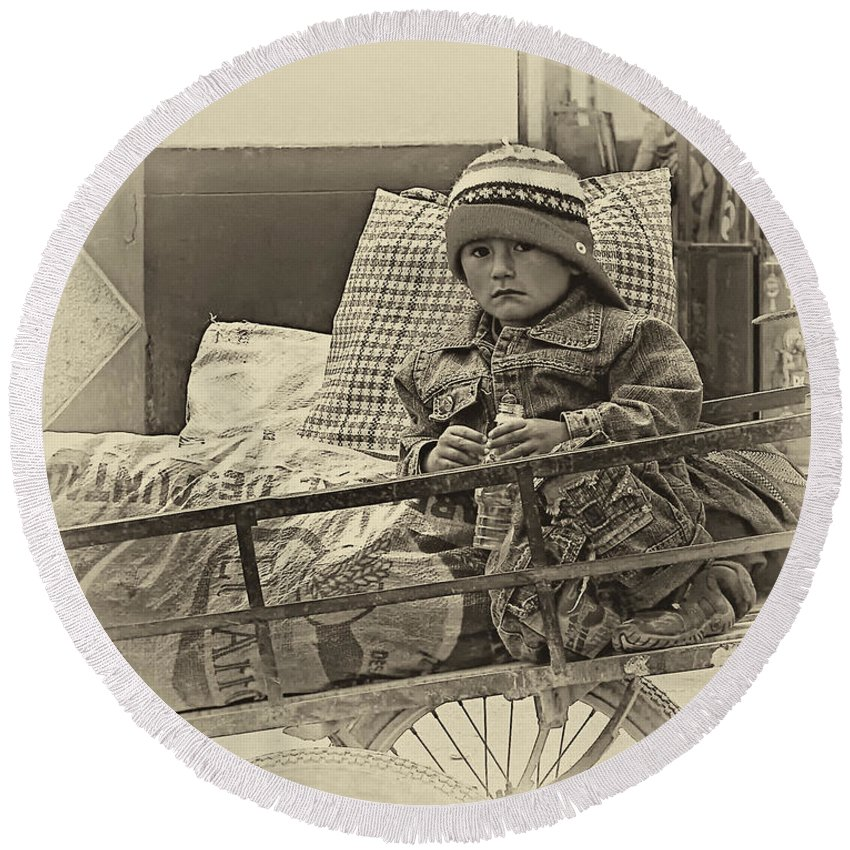 Peru Round Beach Towel featuring the photograph Tiny Biker 2 Sepia by Steve Harrington