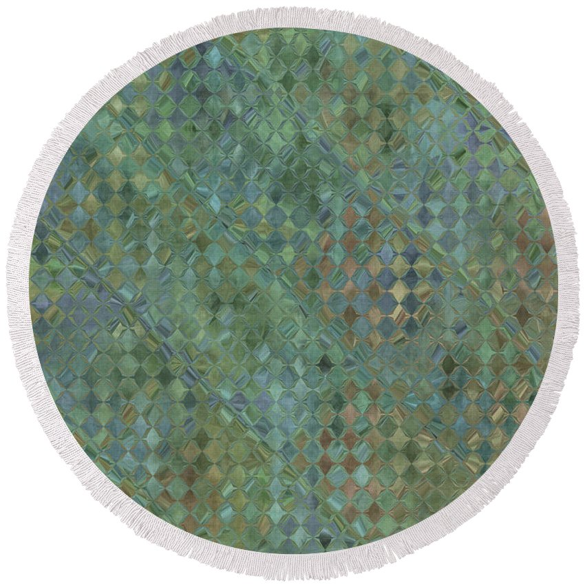 Abstract Round Beach Towel featuring the digital art Tiny Bluetone Diamonds by Debbie Portwood