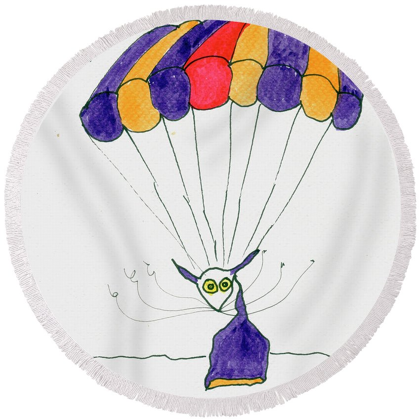Purple Round Beach Towel featuring the painting Tis Just Dropping In by Tis Art