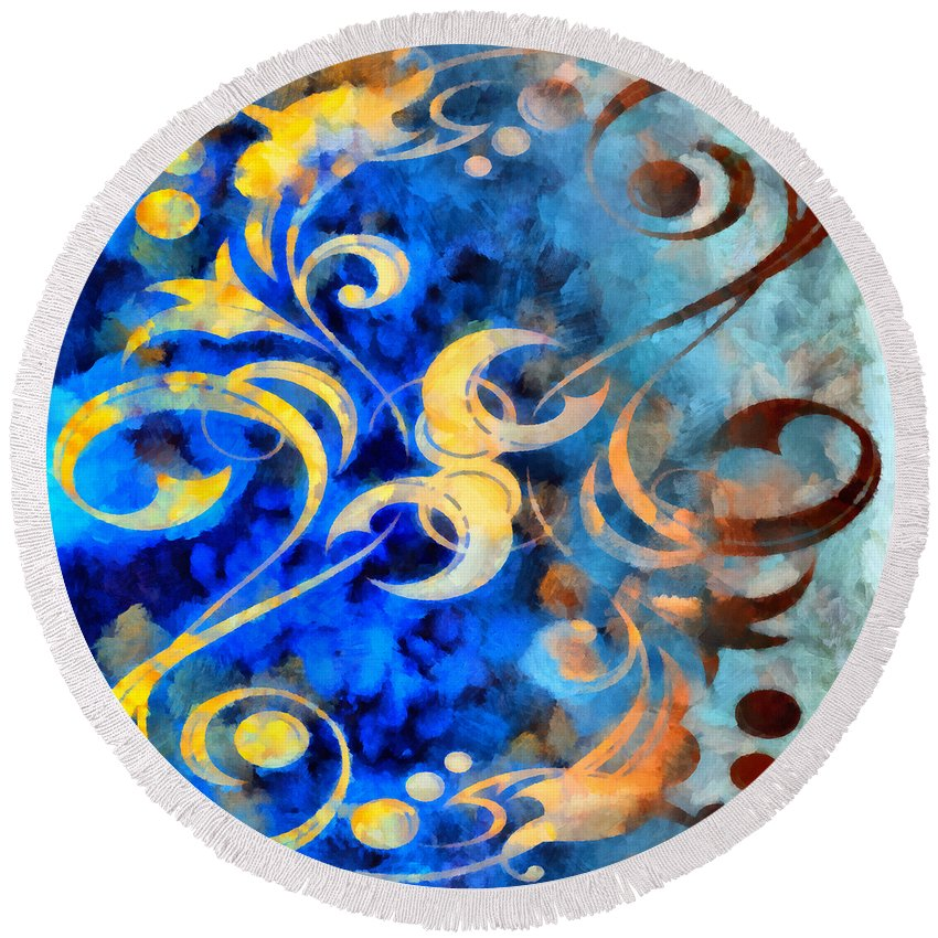 Harness Round Beach Towel featuring the mixed media To Harness The Moon by Angelina Tamez
