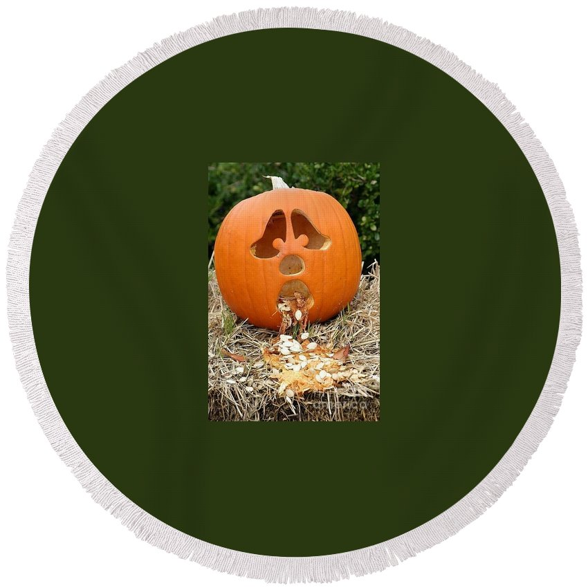 Pumpkin Round Beach Towel featuring the photograph Too Much Candy by Living Color Photography Lorraine Lynch