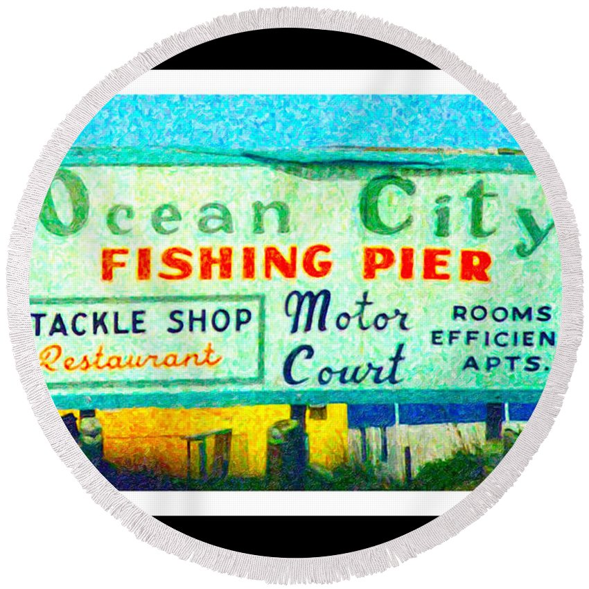 Ocean Round Beach Towel featuring the digital art Topsail Island Old Sign by Betsy Knapp