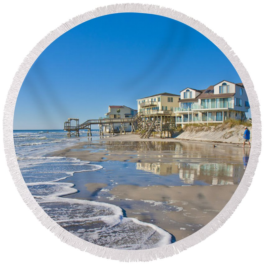 Topsail Round Beach Towel featuring the photograph Topsail North End by Betsy Knapp