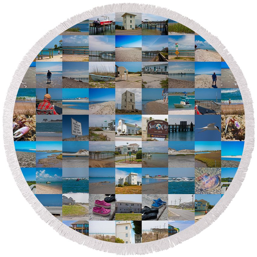 Topsail Round Beach Towel featuring the digital art Topsail Visual Contemporary Quilt Series IIi by Betsy Knapp