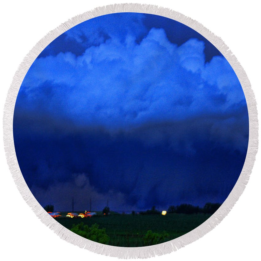 Tornado Round Beach Towel featuring the photograph Tornado Over Madison 4 by Tommy Anderson
