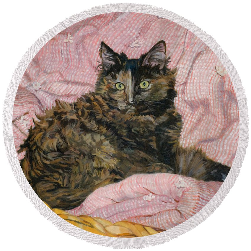 Tortoiseshell Cat Round Beach Towel featuring the painting Torti by Joanna Franke
