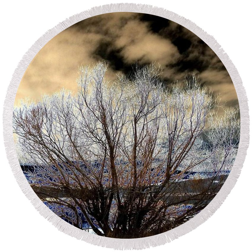 Touch Of Frost Round Beach Towel featuring the digital art Touch Of Frost by Will Borden