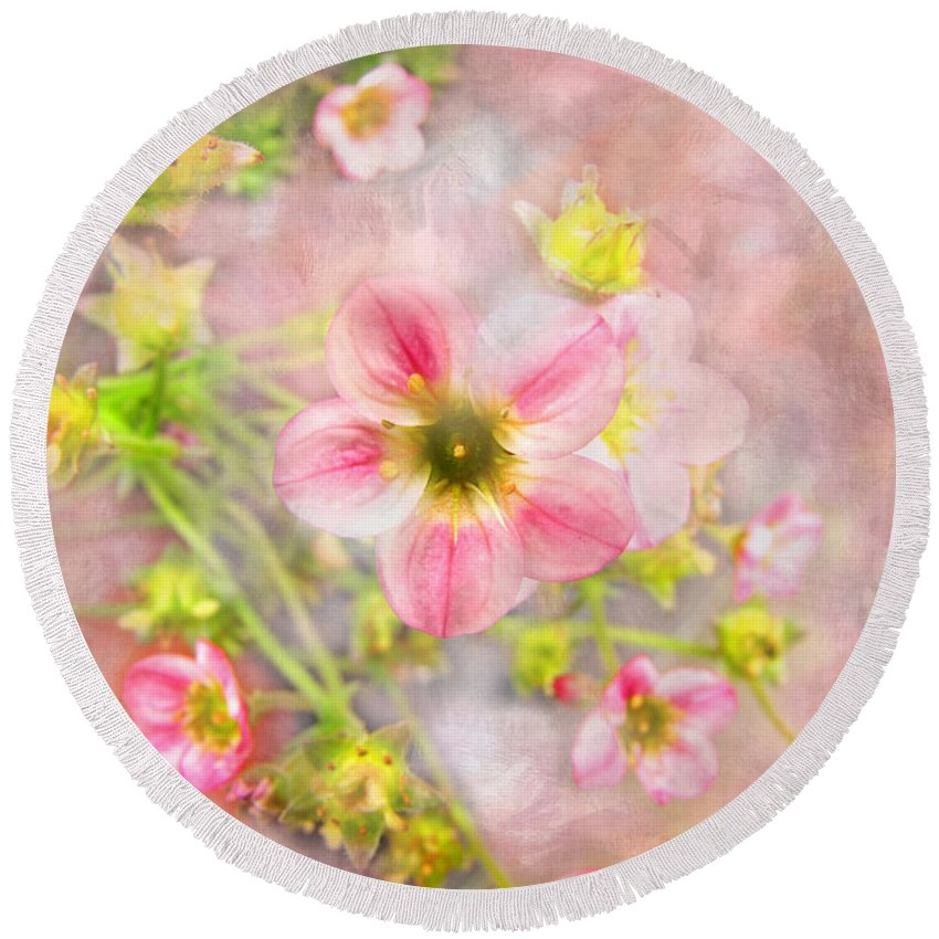 Plants Round Beach Towel featuring the photograph Touch Of Spring by Debbie Portwood