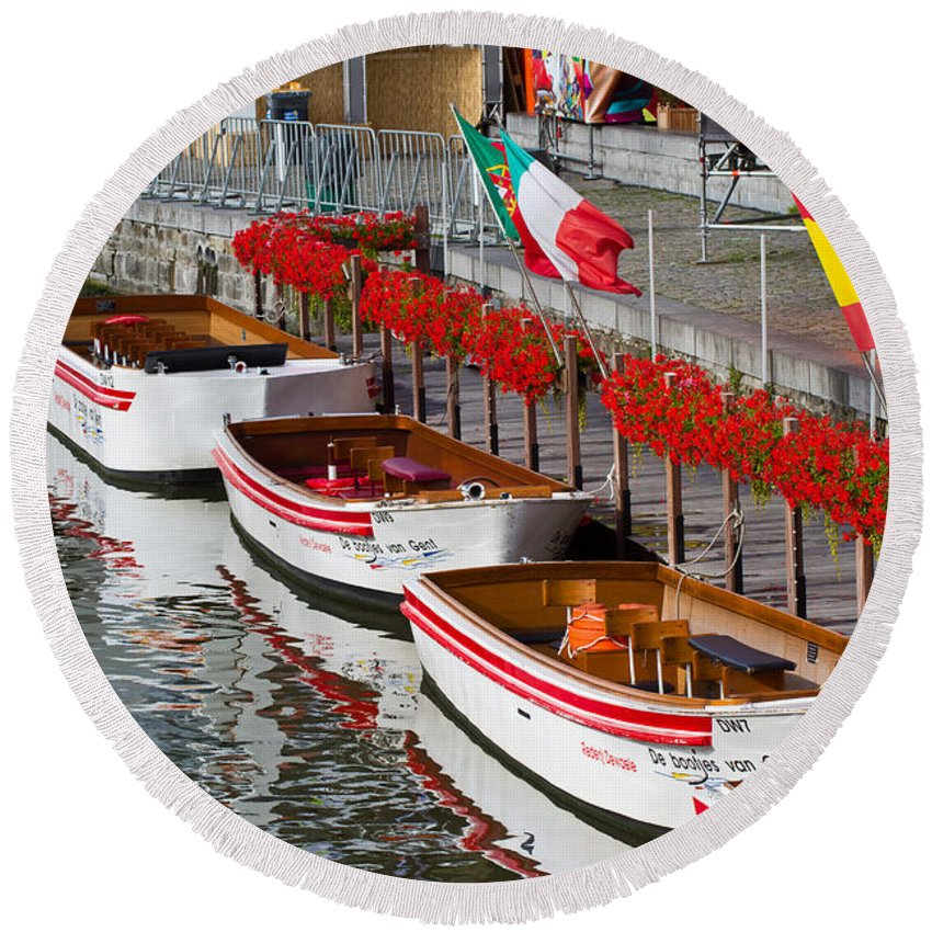 Europe Round Beach Towel featuring the photograph Tour Boats by David Freuthal