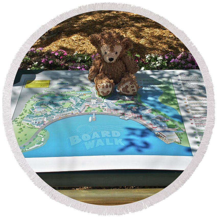 Fantasy Round Beach Towel featuring the photograph Tourist Bear by Thomas Woolworth