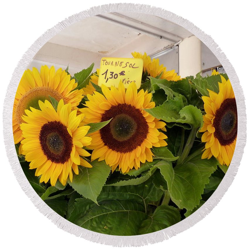 Sunflower Round Beach Towel featuring the photograph Tournesol by Carla Parris