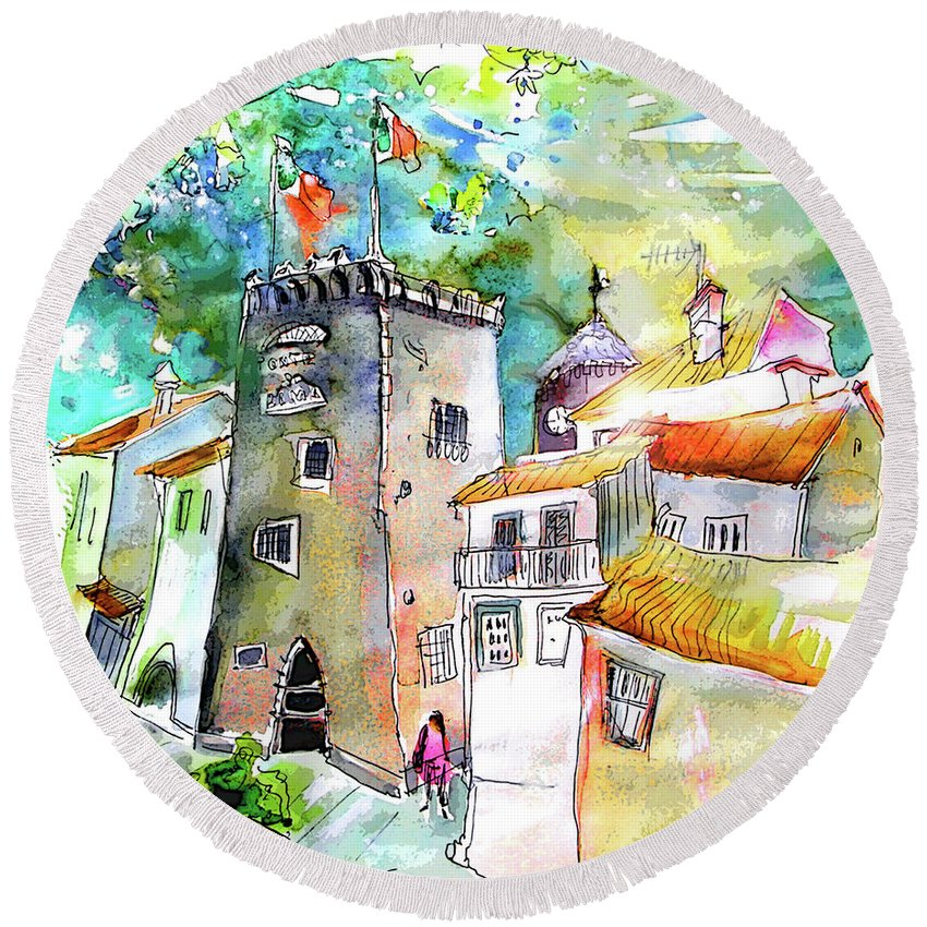 Portugal Round Beach Towel featuring the painting Tower in Ponte de Lima in Portugal by Miki De Goodaboom