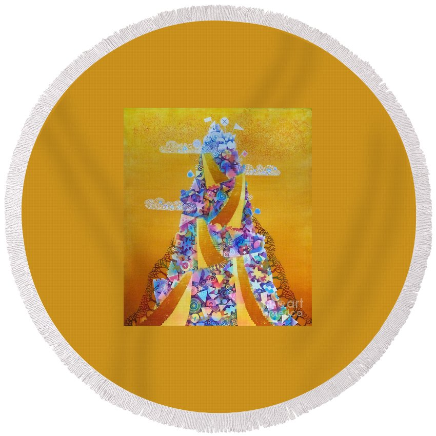 Batik Round Beach Towel featuring the painting Tower by Kate Krivoshey