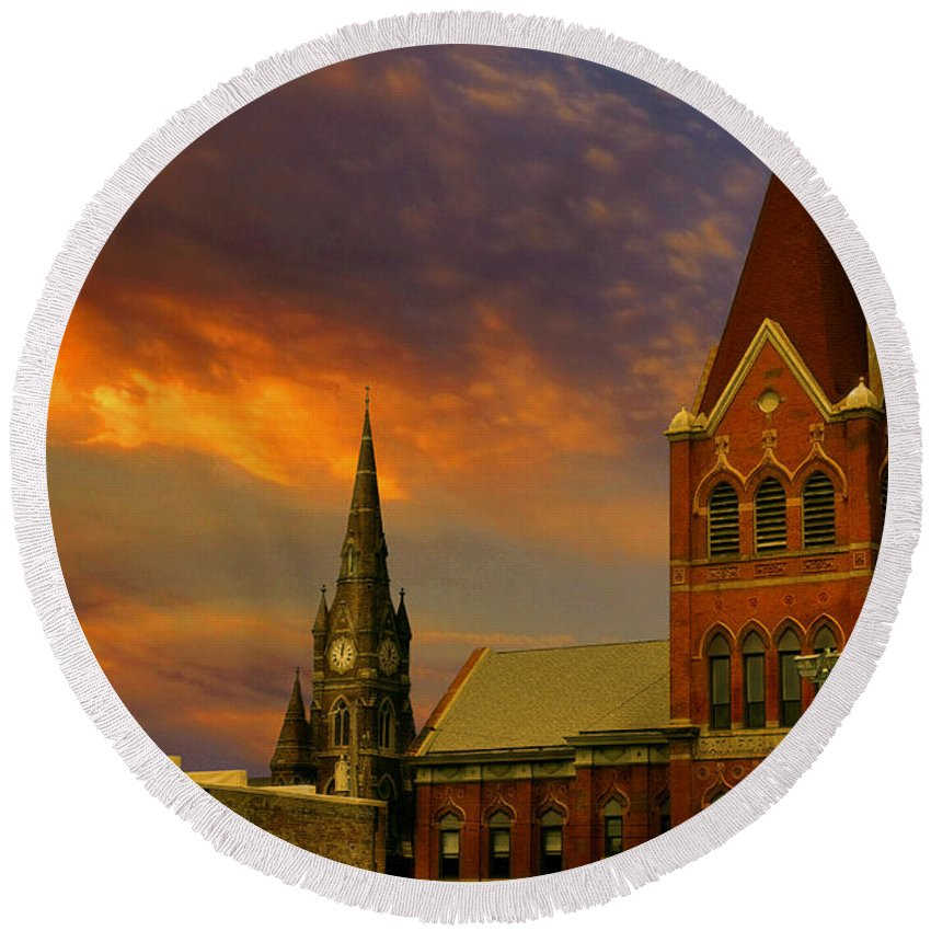 Church Round Beach Towel featuring the photograph Towers Of Faith by Brian Fisher